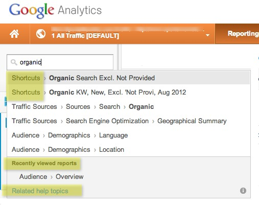 New Google Analytics Report Search