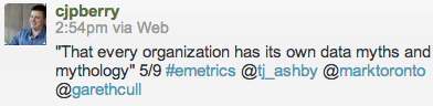 """""""That every organization has its own data myths and mythology"""" 5/9"""