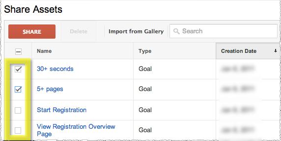 Bulk Goal Share in Google Analytics