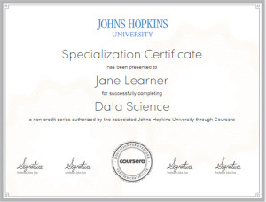 John Hopkins University Data Science Certificate