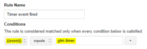 Creating the Timer Event Fired rule in GTM