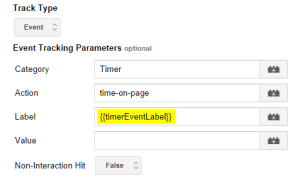 Using the timerEventLabel macro in GTM