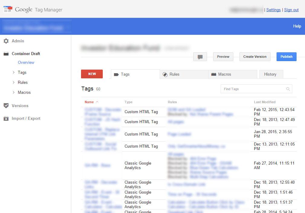 Google Tag Manager V1 Interface