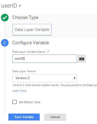 Data Layer UserID variable