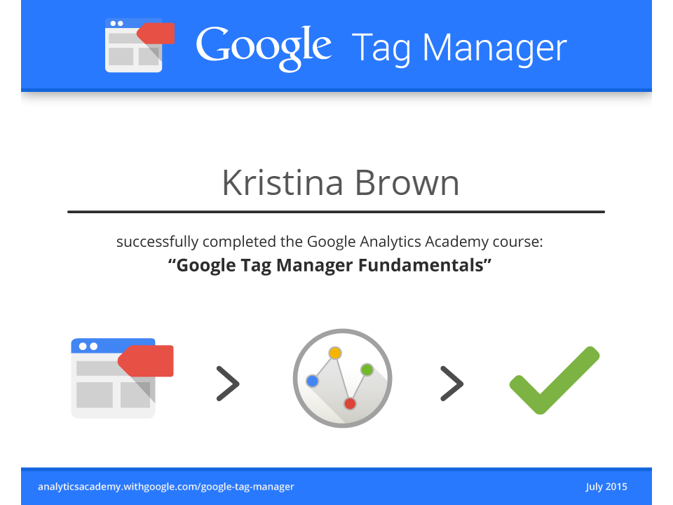 Google Tag Manager Analytics Academy Certificate