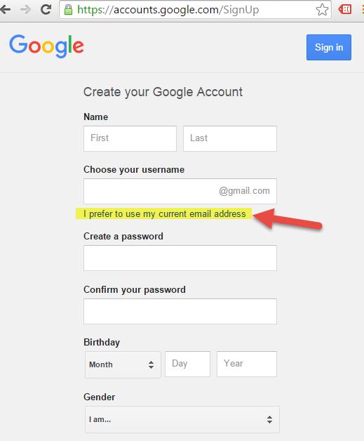 Registering corporate google id