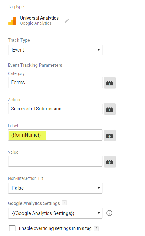 Create GA event tag with formName variable
