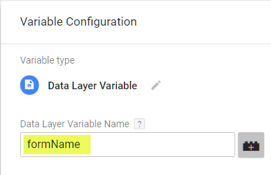 Create formName data layer variable