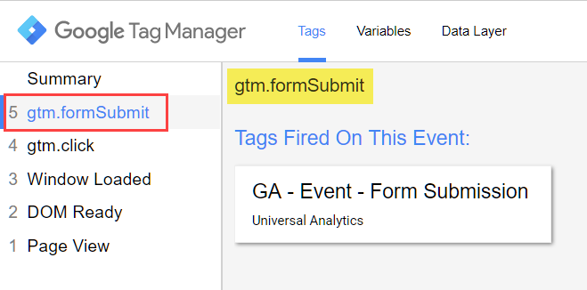 Form Submit event in GTM Preview mode