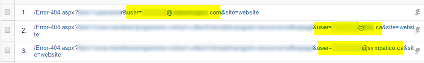 404 Error Email Address in Query String