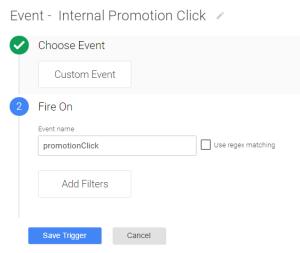 Internal promotion click trigger