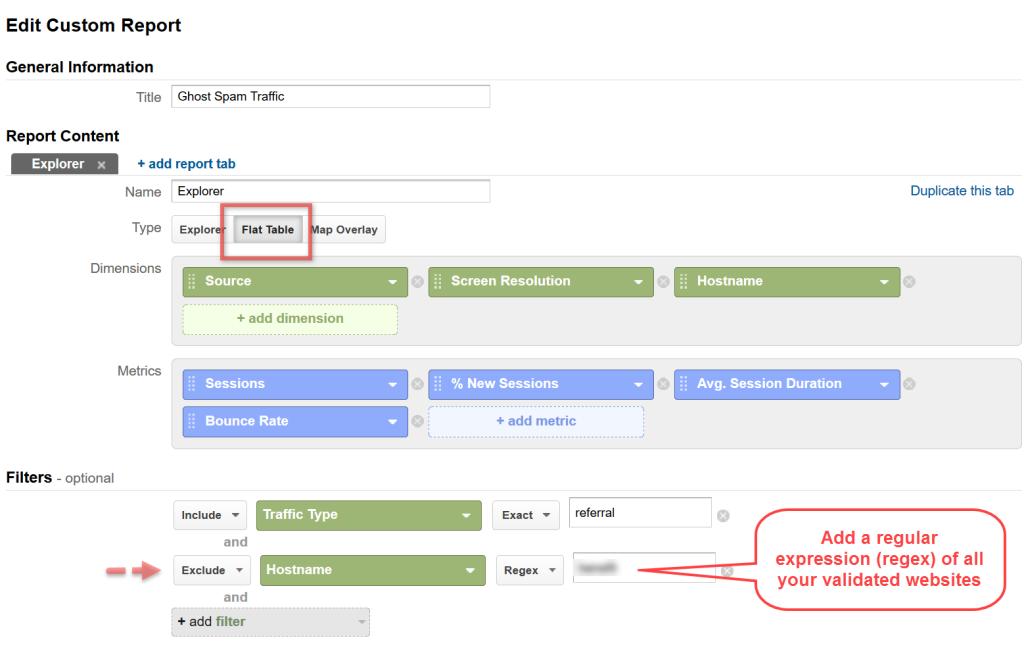 Ghost Spam Custom Report Configuration