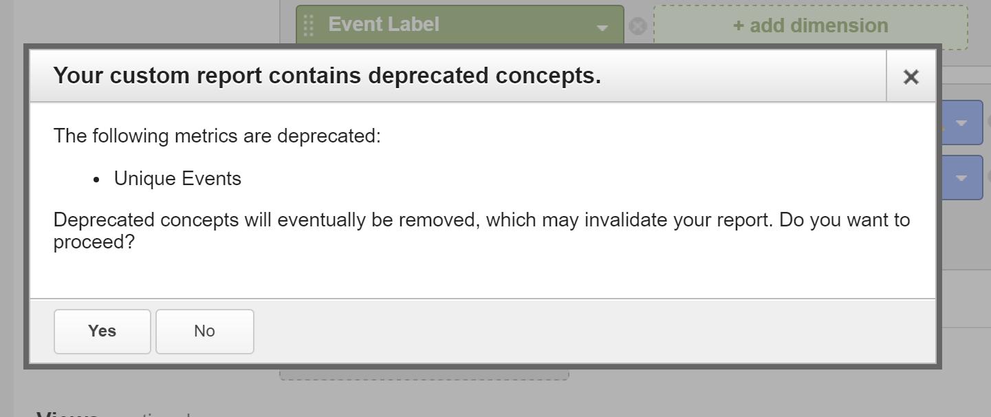 Unique Events Deprecation Notice