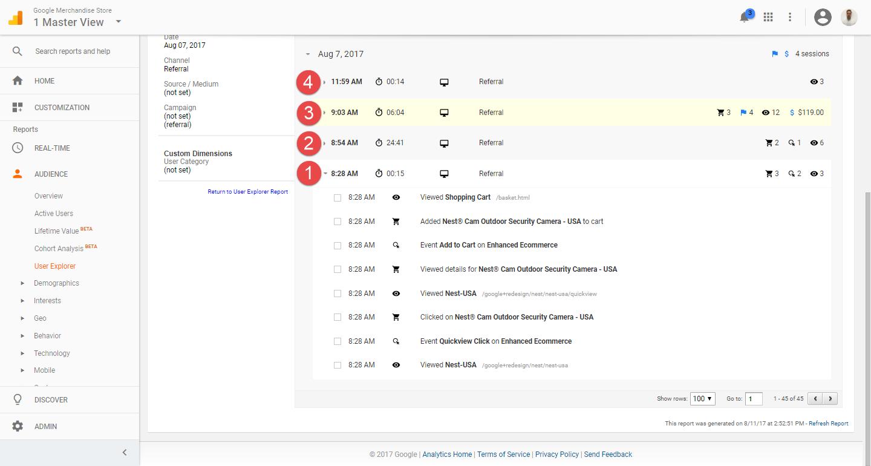 User Explorer - highlighting first session