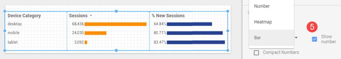 Enabling Bar Charts Screenshot