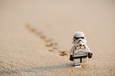 Lego Storm Trooper Walking in Sand