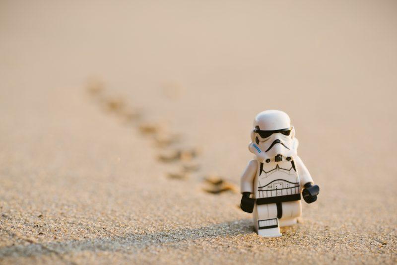 Lego Storm Trooper Walking in Sand