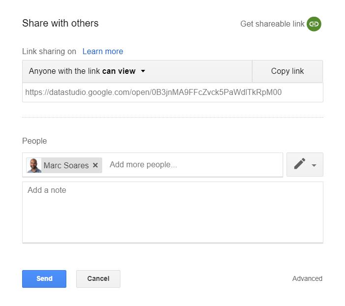 Data Studio report sharing interface
