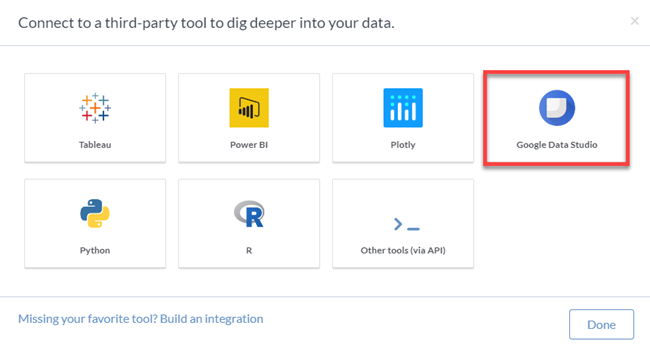 Choosing Data Studio to Connect Data To