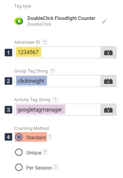 DoubleClick Floodlight tag in GTM configured with sample values.