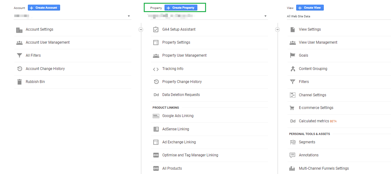 Admin section of Universal Analytics, Create Property is highlighted