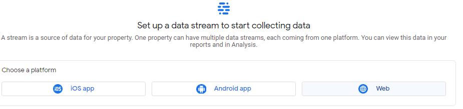 Data stream set up with platform options