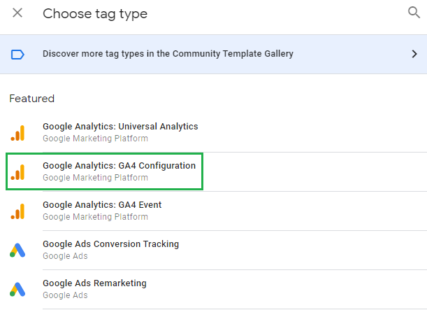 Tag type in GTM, GA4 configuration tag is highlighted