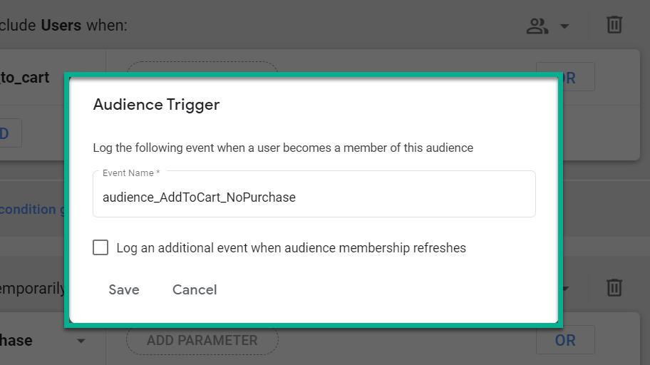 GA4 Audiences Trigger Screenshot